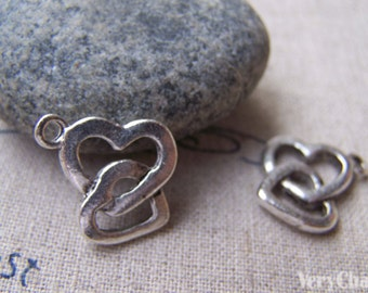 20 pcs of Antique Silver Double Heart Charms 16x16mm A2862