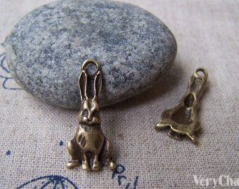 Antique Bronze Lovely Hare Rabbit Charms 10x23mm Set of 20  A603