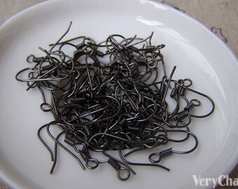 100 pcs of Gunmetal Black Fish Hook Earwire Findings 14x15mm A3324