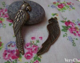10 pcs of Antique Bronze Huge Parrot Pendant Charms 15x55mm A243