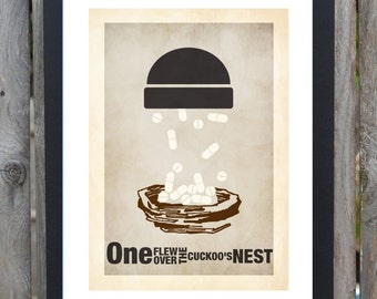 One flew over the cuckoo's nest minimal minimalist movie film print poster