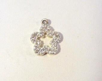 Vintage Sterling silver CZ Flower pendant