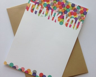 Confetti Thank You Stationery Set - 8 Blank Cards & Envelopes