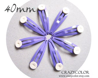 100 pcs Bright Purple Hair Snap Clip With Flat Pad 40mm (1.6 Inch) 40P11
