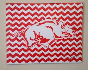 Original Razorback Acrylic Painting Red & White Chevron 16 x 20