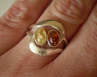 Baltic Amber 925 Sterling Silver Ring Size 7.25