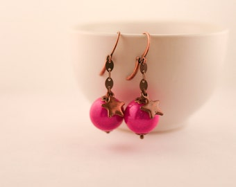 Pearl Earrings pink and Star