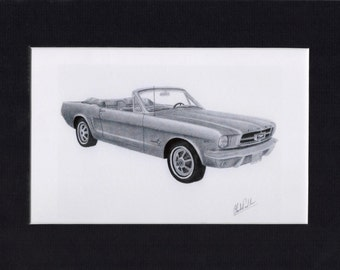 Car art drawing of a 1965 Mustang convertible