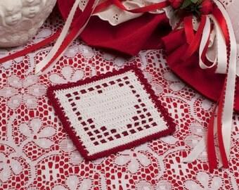 Crochet Coaster Pattern: Filet Heart Coaster, PDF download