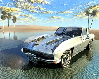 "Oasis, Digital print - 8.5"" X 11"", Home Decor, Corvette Art, Signed by Artist Mark Watts"