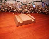 Maple wood phone stand, 1/2  inch slot .tablet stand. iPhone, Galaxy, Droid. Withcase. Business card holder.