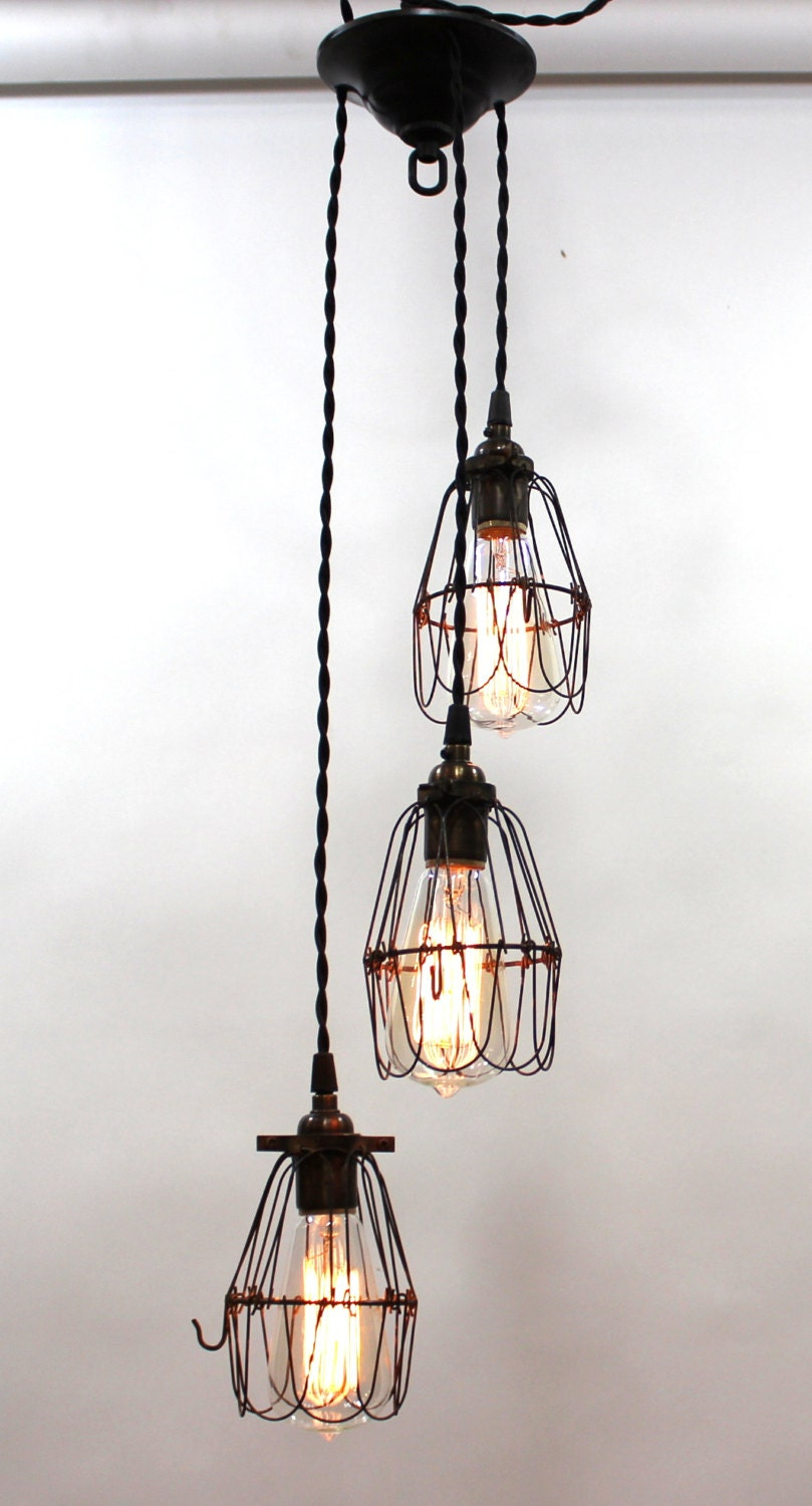 industrial style multi cage light pendant by parisenvy on etsy. Black Bedroom Furniture Sets. Home Design Ideas