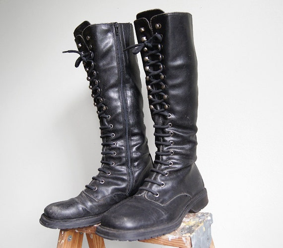 Vintage Tall Combat Boots Leather Lace Up Punk Black