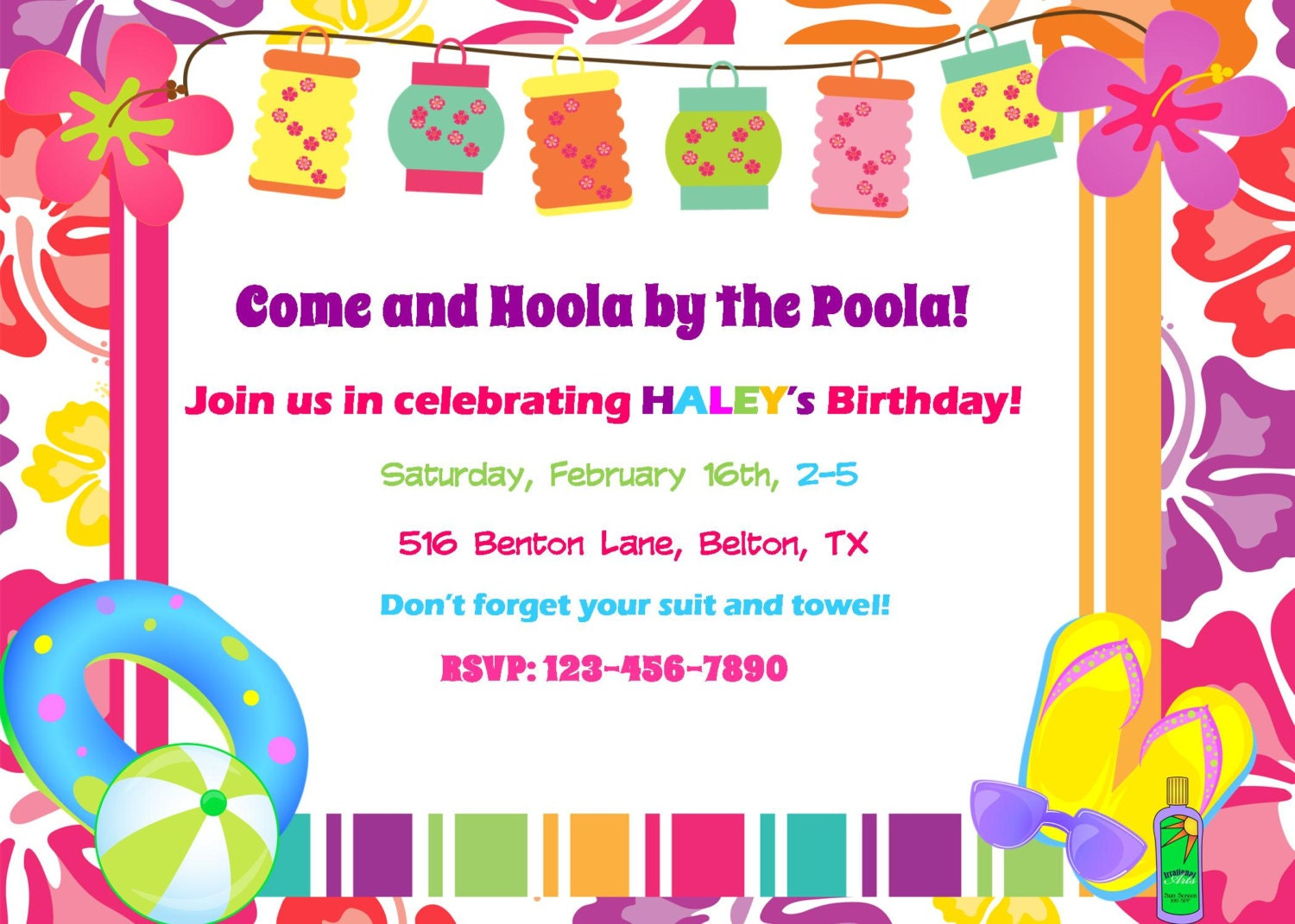Luau Pool party Invitation Birthday Party Baby Shower Digital