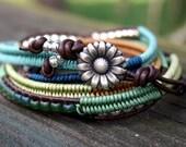 Macrame Wrap Bracelet- Wrap Bracelet- Boho Bracelet- Modern Macrame- Bohemian Jewelry- Leather Clasp- Summer Colors 2017- Boho Bracelet