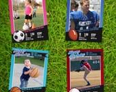 Team Bundle: Basketball, Baseball, Football, and Soccer Card Birthday Invitations - Set of 5x7 Photoshop Templates