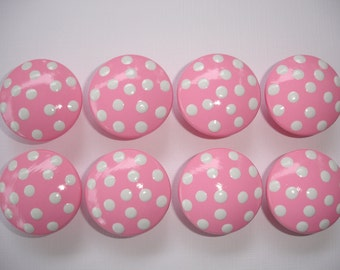 Set of 8 Hand Painted Bright Pink and White Polka Dot Dresser Drawer Knobs