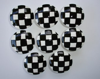 Set of 8 Hand Painted Black and White Checked Dresser Drawer or Cabinet Knobs