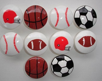 Set of 10 Hand Painted Sports Football Basketball Baseball Soccer Dresser Drawer Knobs