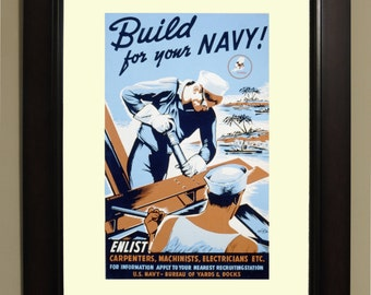Build for your Navy WPA Poster - 3 sizes available, one price.