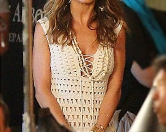 Crochet  mini dress - summer - dress worn by  Jennifer Aniston - made to order - hand made - Wholesale prices available.