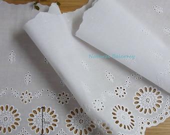 1yd White Color Eyelet Lace Trims  Crochet   Flower Cotton Lemon 330