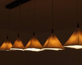 """Hanging  Chandelier, exclusive 5 modern pendant light 7.2"""" height, light fixture, hanging pendant light. ceramic lighting fixture."""