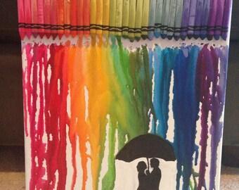 Melted Crayon Art Rainbow Rain