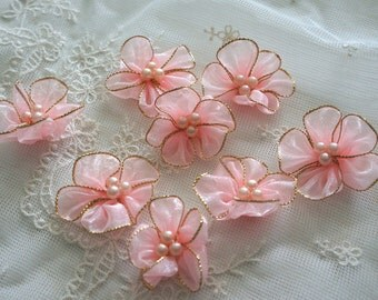 "1.5""  peach Organza with faux pearl Flower Appliques - 30pcs"