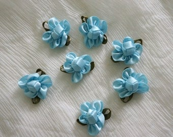blue Satin Ribbon Flower Appliques -35pcs