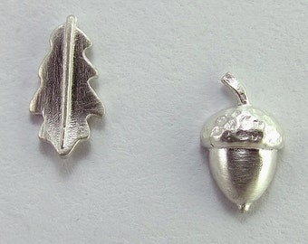 Silver Acorn and Oak Leaf Stud Earrings