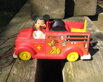 Vintage Mickey Mouse Fire Truck - Pull Toy - 1950s