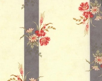 Floral Border Fabric - Etchings Floral Botanical Stripe by 3 Sisters for Moda Fabrics 4066 15 Slate - 1/2 yard