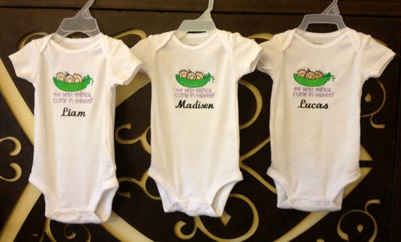 Personalized Triplet Set Embroidered Baby Onesies-  Peas in a Pod
