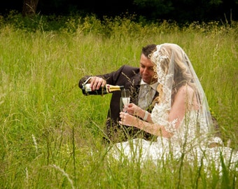 """Mantilla wedding veil - 34"""" circula elbow length mantilla veil."""