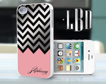 iPhone 4 4s Case - Custom Chevron Coral with Silver Personalized  iP4