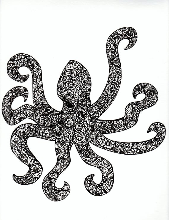 Black and White Patterned Octopus Ink Drawing by ...