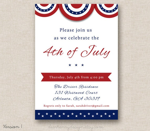 Items Similar To 4th Of July Invitation, PRINTABLE
