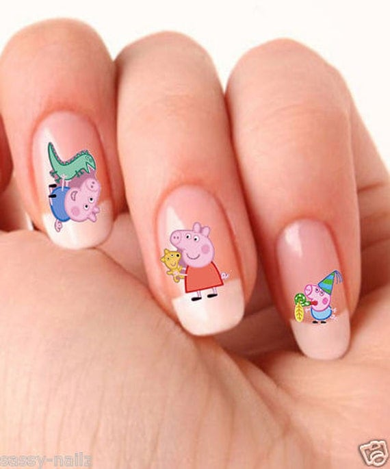 Pig Nail Art: Peppa Pig Childrens Nail Art Transfer Water Wrap By Shockitude