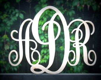 "Monogram Wood Letter Initials 18"" Width Script Font"