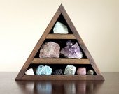 RESERVED. crystal and mineral stone collection in handmade triangle wood curio shelf