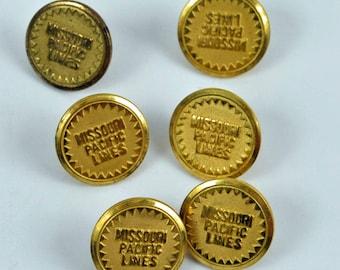 Missouri Pacific Lines Railroad uniform buttons.