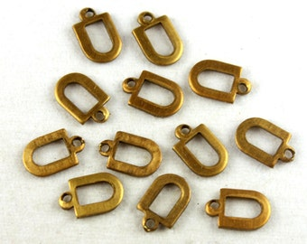 12x Vintage Brass Initial Charms - M030-U