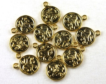6x Vintage Gold Plated Leo Charms - M029-B