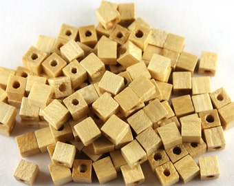 24x Wooden Cube Beads - N008