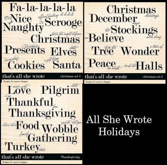All She Wrote Christmas and Thanksgiving Word Art