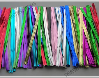 "100pcs 4"" Metallic Twist Ties - 15 colors for cello bag and cakepop"