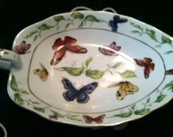 I Goldinger Porcelain BUTTERFLY DISH Gold Leafed handle