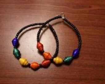 paper bead hoop earring,multi colored beads.