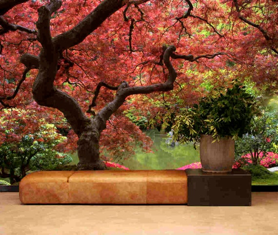 Japanese garden wall mural peel stick wall fabric material for Mural jardin